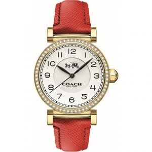 Coach Madison Gold Women's Watch Red Leather Strap